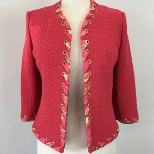 St. John Collection coral knit jacket w/ ribbon